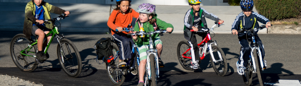 Bike train arriving during May Bike to School month
